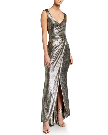 Talbot Runhof Twisted Metallic Jersey Gown