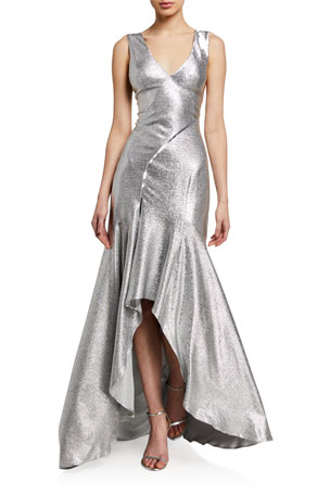 Galvan Releve Metallic Satin High-Low Gown