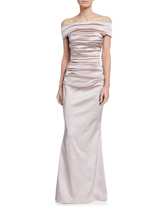 Talbot Runhof Satin Off-the-Shoulder Gown