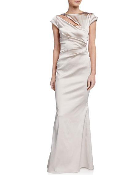 Talbot Runhof Duchesse Cap-Sleeve Gown