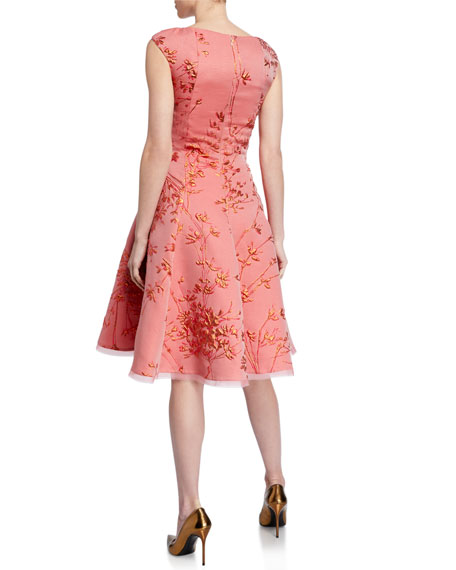 Talbot Runhof Korbut Metallic Jacquard Party Dress