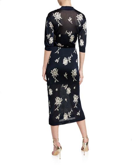 Chloe Superfine Flower Jacquard Dress