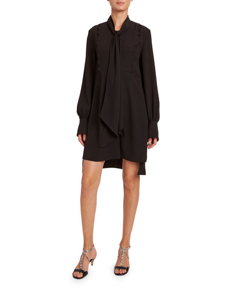 Image 1 of 2: Chloe Satin-Back Crepe Short-Sleeve Dress