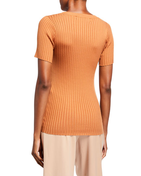 Image 2 of 2: Sies Marjan Ribbed Silk Knit T-Shirt