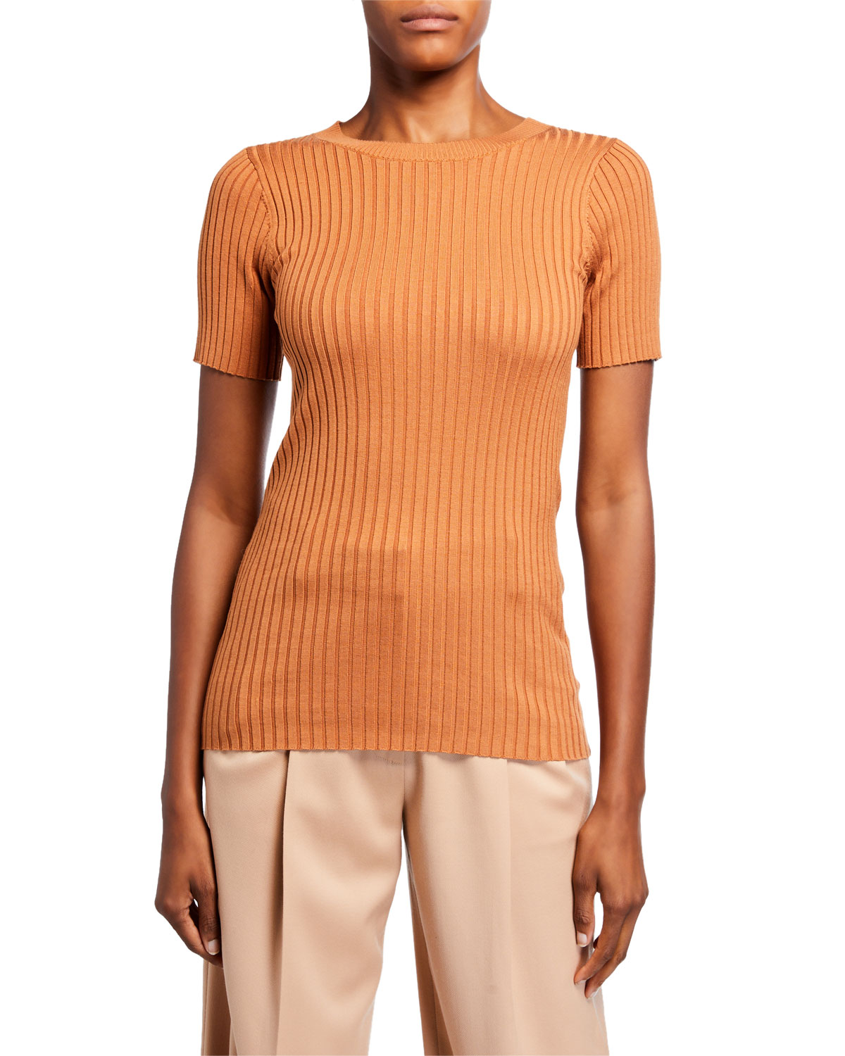 Sies Marjan Ribbed Silk Knit T-Shirt