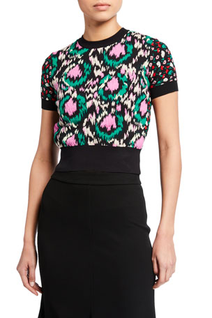 Marni Floral Jacquard High-Neck Short-Sleeve Sweater