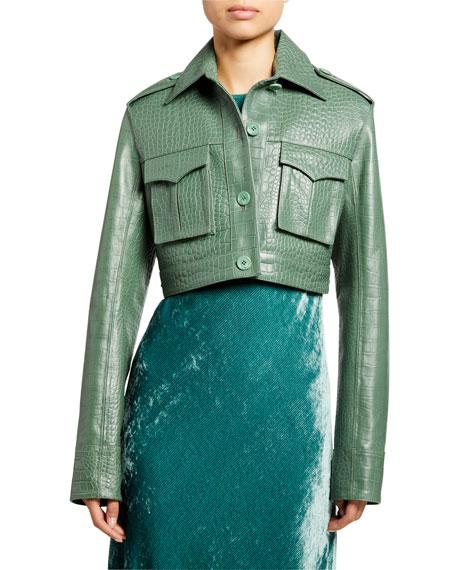 Sies Marjan Jackets Maya Croc-Embossed Crop Jacket