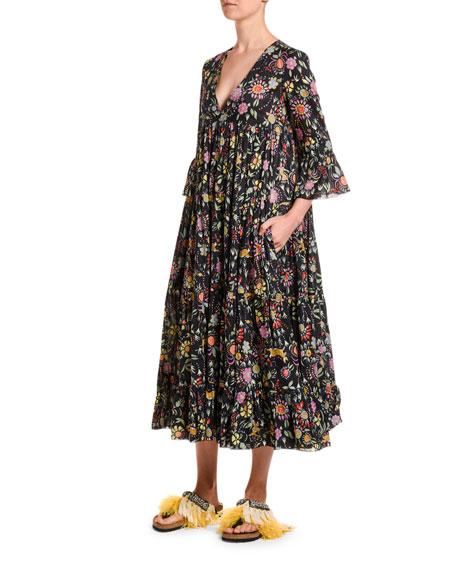Double J Jennifer Jane Floral Voile 3/4-Sleeve Dress