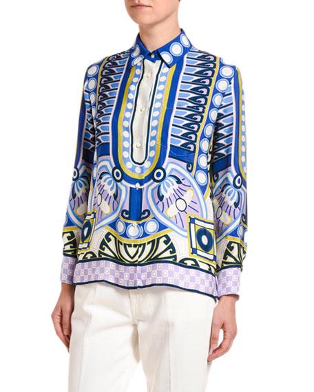 Double J Abstract Print Sable Boy Shirt