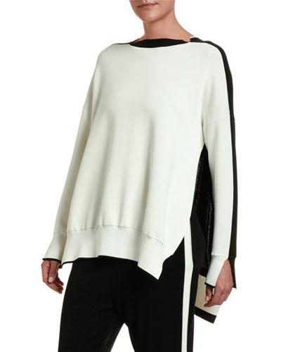 Colorblocked Cut-Seam Sweater