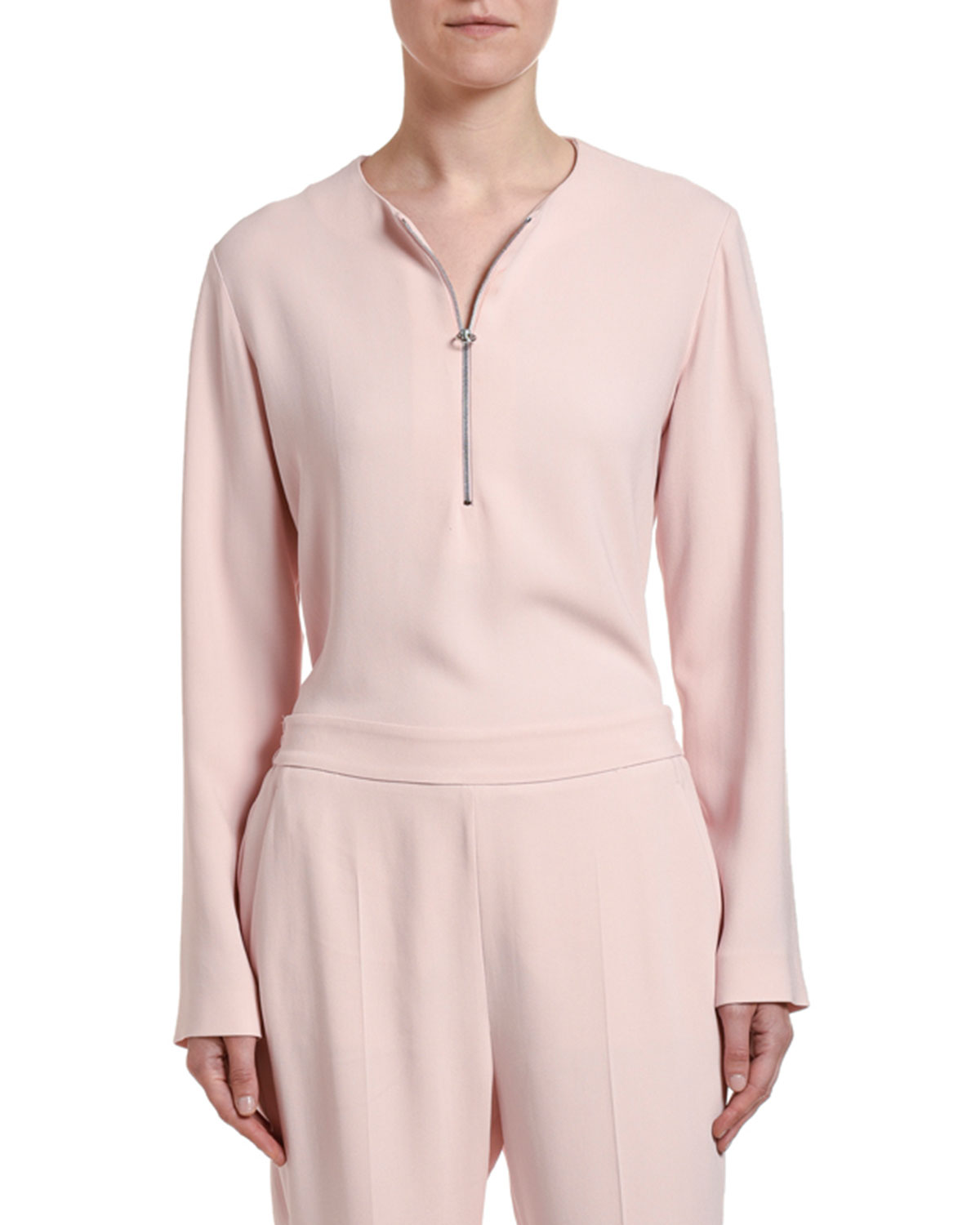 Stella McCartney Long-Sleeve Half-Zip Cady Top
