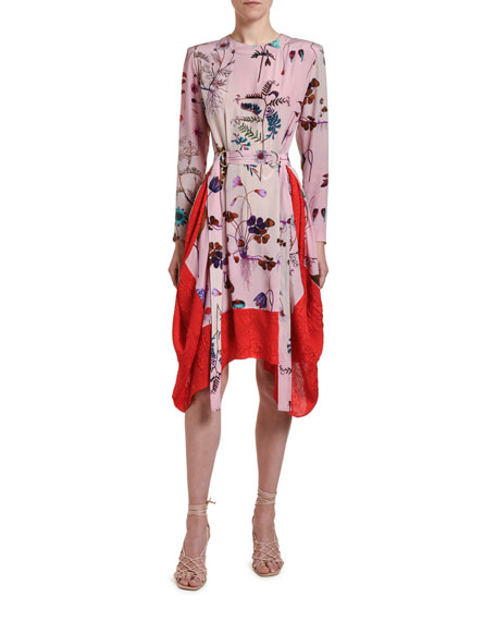 Stella McCartney Floral-Print Silk Handkerchief Dress