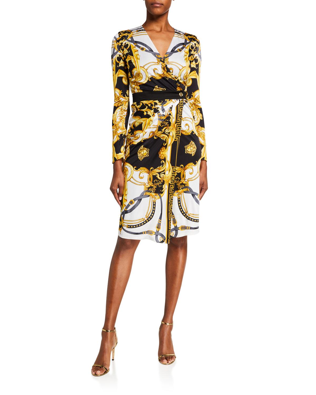 Versace Baroque Greek Key Print Faux-Wrap Dress