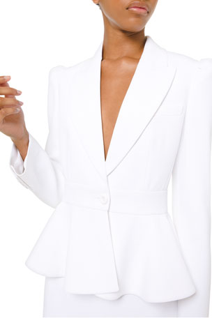 Michael Kors Collection Puff-Sleeved Peplum Blazer Jacket