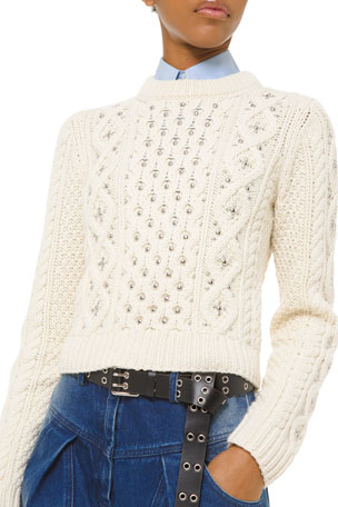 Michael Kors Collection Cashmere Studded Cable-Knit Sweater