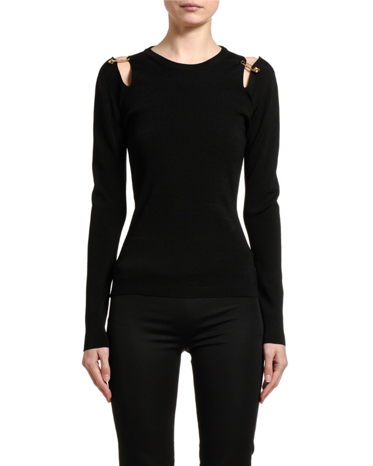 Versace Safety-Pin Shoulder Jersey Top