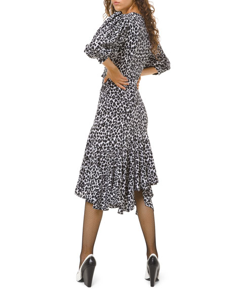 Image 2 of 2: Michael Kors Collection Leopard-Print Silk Asymmetric Dress