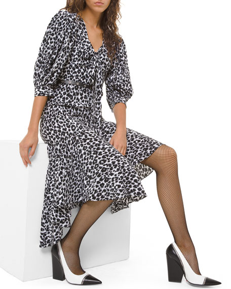 Image 1 of 2: Michael Kors Collection Leopard-Print Silk Asymmetric Dress