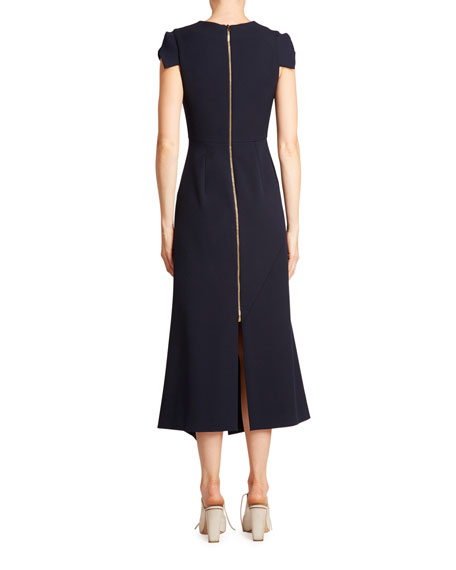 Roland Mouret Kinglake Crepe Cap-Sleeve Asymmetric Dress