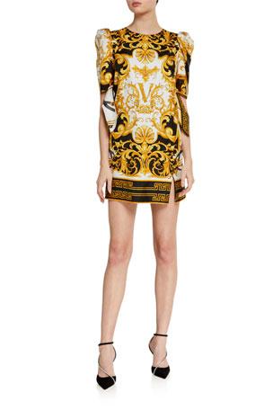 Versace Short-Sleeve Silk Dress