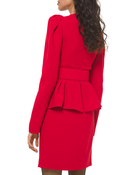 Michael Kors Collection Sable Crepe Peplum Cocktail Dress
