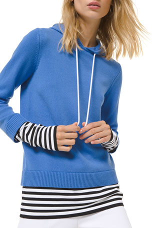 Michael Kors Collection Cashmere Layered Pullover Hoodie
