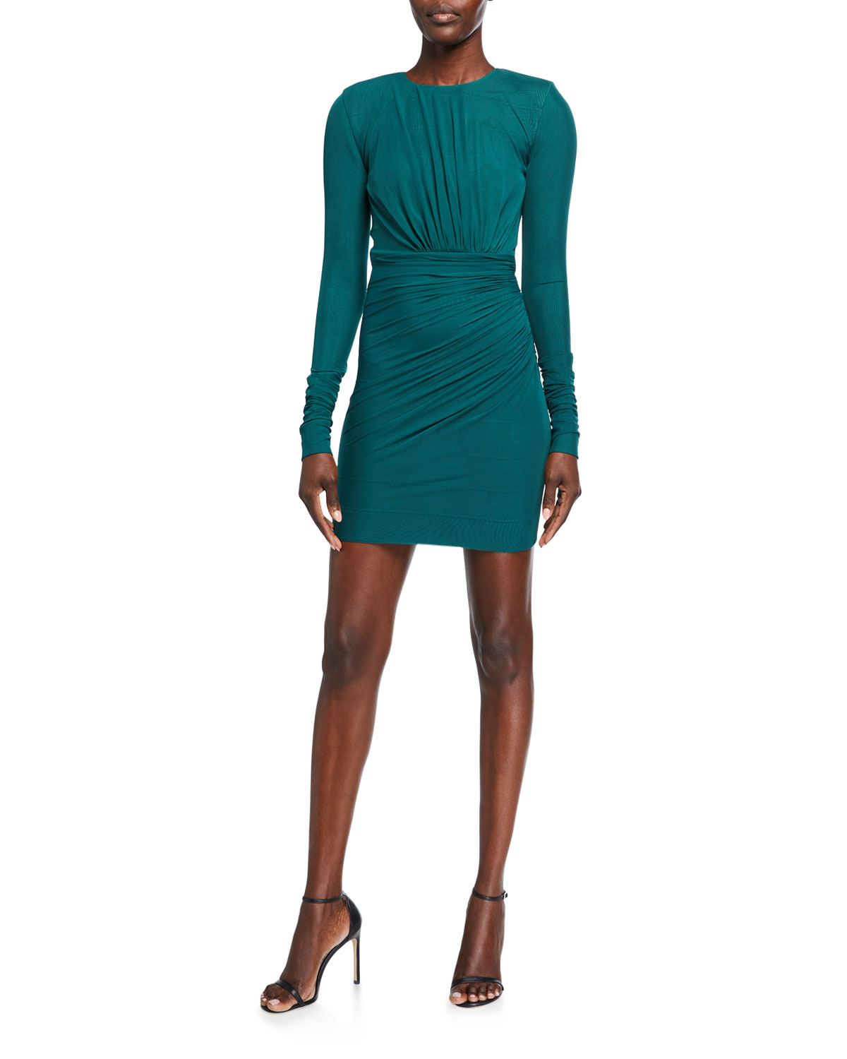 Herve Leger Ruched Jersey Long-Sleeve Bodycon Dress