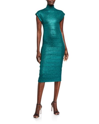 Shimmered Bandage-Knit Mock-Neck Bodycon Dress