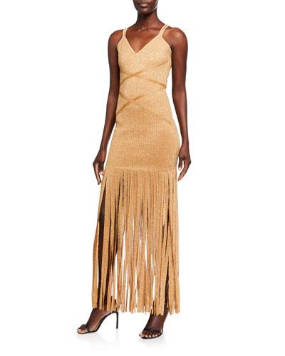 Shimmered Sleeveless V-Neck Fringe Dress