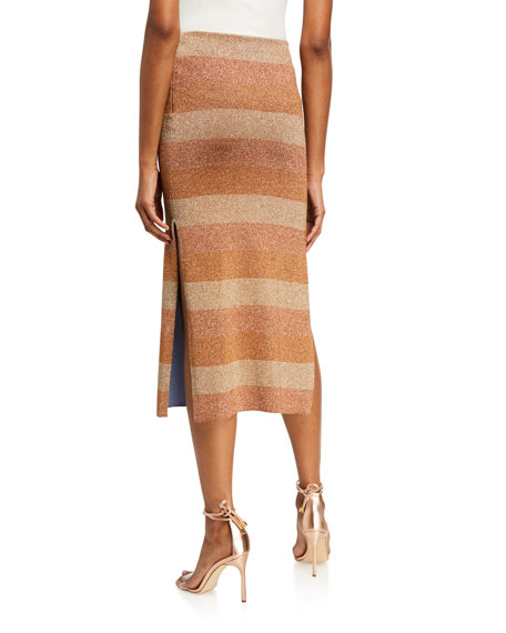 Image 2 of 3: Herve Leger Shimmer-Striped Slit-Hem Skirt