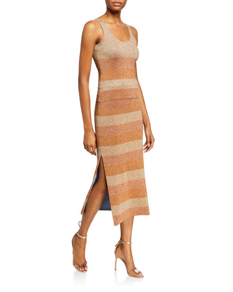 Image 3 of 3: Herve Leger Shimmer-Striped Slit-Hem Skirt