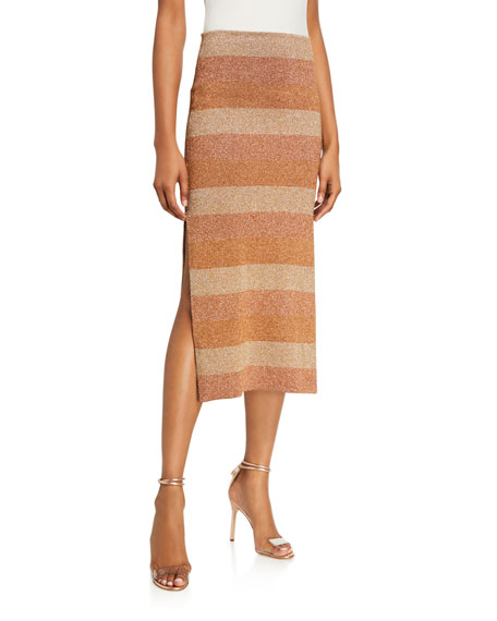 Image 1 of 3: Herve Leger Shimmer-Striped Slit-Hem Skirt
