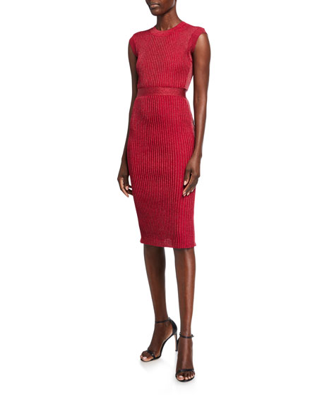 Herve Leger Jewel-neck Metallic-ribbed Midi Dress In Red