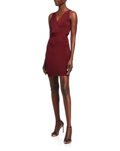 Bandage-Knit V-Neck Mini Dress