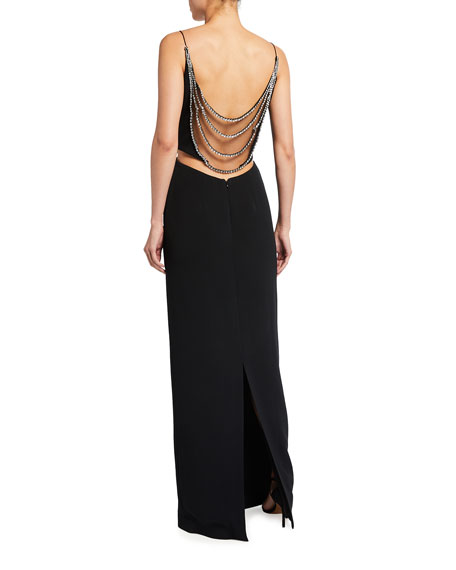 Image 2 of 2: Stella McCartney Draped-Beaded Column Gown