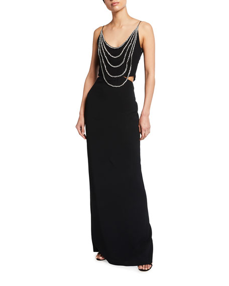 Image 1 of 2: Stella McCartney Draped-Beaded Column Gown