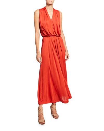 Draped Jersey Sleeveless Dress