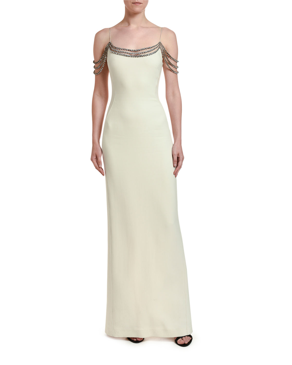 Stella McCartney Off-the-Shoulder Draped Beaded Gown