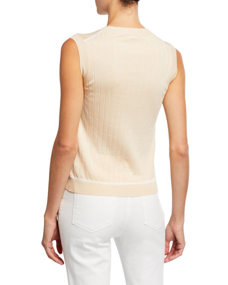 Loro Piana Silk-Cotton Ribbed Shell Sweater
