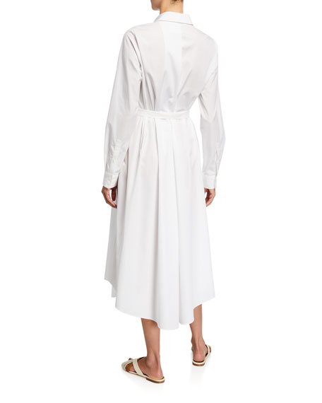 Loro Piana Poplin Belted Flare Dress