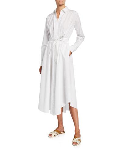 Poplin Belted Flare Dress