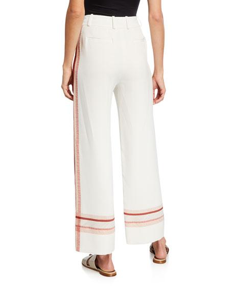 Loro Piana Striped Stretch-Silk Cropped Wide Leg Pants