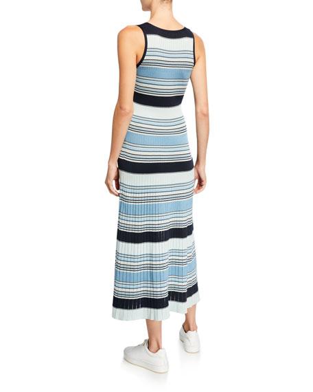 Loro Piana Striped-Knit Pleated Skirt Midi Dress