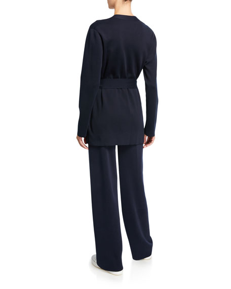 Loro Piana Silk-Cotton Belted Wrap Cardigan