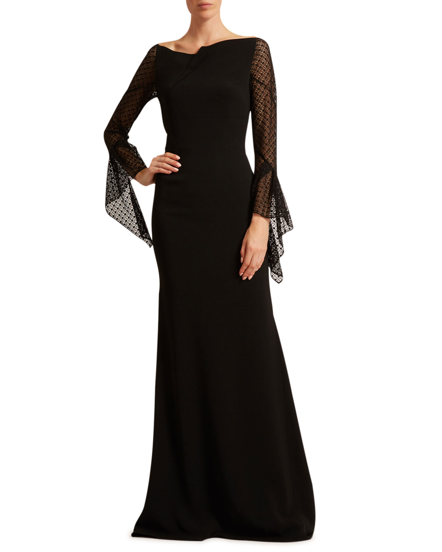 Roland Mouret Hafren Lace Bell-Sleeve Gown