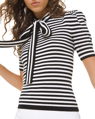 Striped Puff-Sleeve Bowed Blouse
