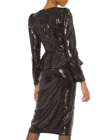 Michael Kors Collection Sequined Long-Sleeve Peplum Dress
