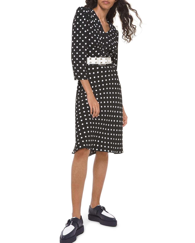 Michael Kors Collection Polka-Dot Belted V-Neck Flared Dress
