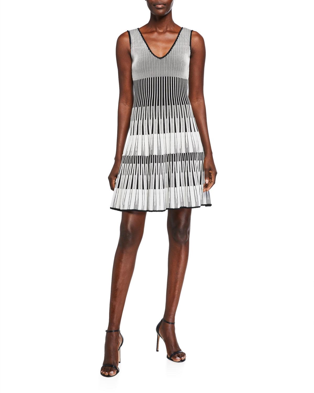 Herve Leger Two-Tone V-Neck Fit & Flare Dress