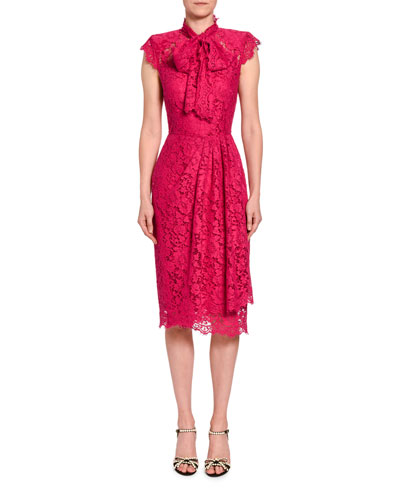Ruched-Lace Cap-Sleeve Dress